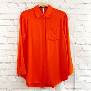 Kensie Button Front Tunic Length Blouse